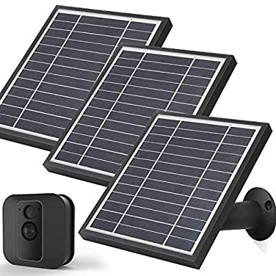 iTODOS Solar Panel Works for Blink XT XT2, 11.8Ft Outdoor Power Charging Cable and Adjustable Mount,Weatherproof Aluminum Alloy Material (3 Pack, Black)