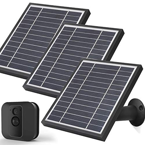iTODOS Solar Panel Works for Blink XT XT2, 11.8Ft Outdoor Power Charging Cable and Adjustable Mount,Weatherproof Aluminum Alloy Material Sturdy Durable and Anti-Aging (3 Pack, Black)
