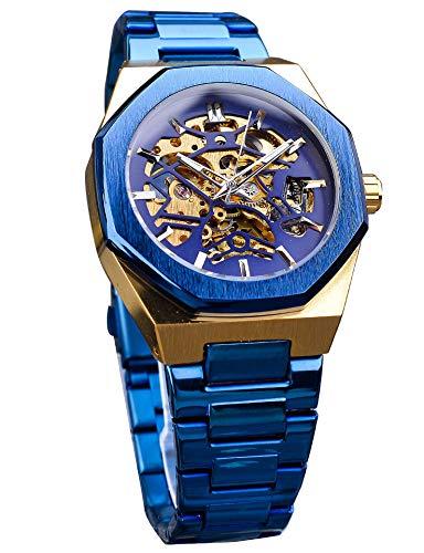 Forsining - Reloj de pulsera mecánico automático para hombre, resistente al agua, acero inoxidable, transparente, diseño de moda