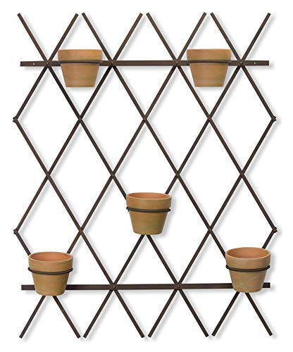 Melrose 78462 Trellis with Pots, 46.5-inch Height, Iron/Terracotta