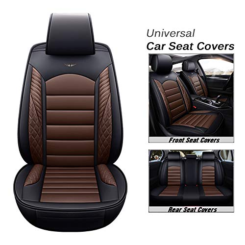 Tensof Car Seat Cushion Covers, 5 Car Seat Cover Full Set Anti-Slip Universal PU Leather Auto Car Seat Covers Protector for Most of 5 Seat Car, SUV, Midsize Sedan, Airbag Compatible (Black+Brown)