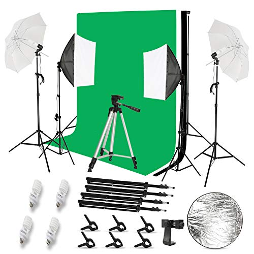 2.6 x 3M/8.5 x 10FT Background Support System and 5500K Umbrellas Softbox Continuous Lighting Kit for Photo Studio Product Portrait and Video Shoot Photography with Reflector Panel
