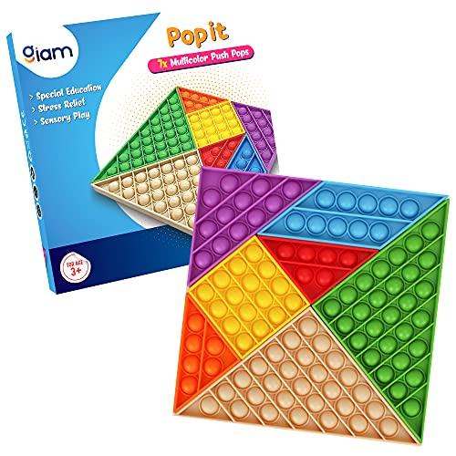 GIAM Push Pop Bubble Fidget Toy, Multicolor + Multiforma Silicona Pop It Set para todas las edades, adecuado para el juego sensorial autismo Necesidades especiales Ansiedad alivio del estrés (7 piezas+7 colores+3 formas)