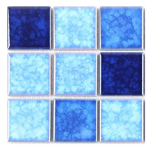 Blue Crystal Glaze Ceramic Mosaic Floor Tiles Bathroom Tiles Swimming Pool Mosaic Porcelain Baths...