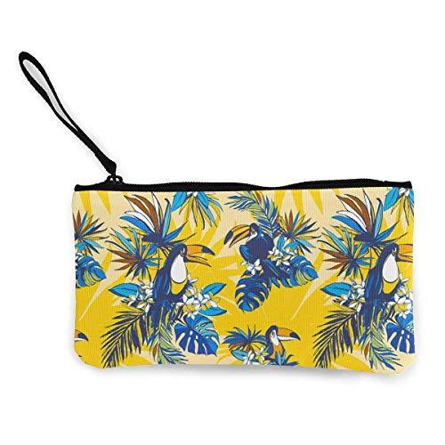 Change Cash Purse, palmbladeren bloemen vogels portefeuille muntportemonnee canvas polyester wisselbeurzen voor buiten reizen, 22 (L) x12 (W) cm