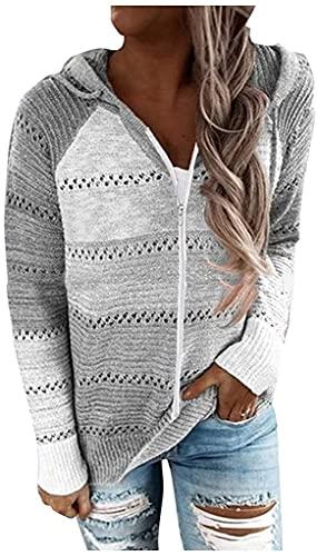 Kookmean Sudaderas para mujer con cremallera, chaqueta vintage con capucha de manga larga, suéter ligero y colorido, B01 Gris, 3XL