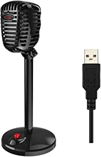 Granvela Retro Style PC Microphone with Stand for Windows PC/Laptop and Mac,USB (Black)
