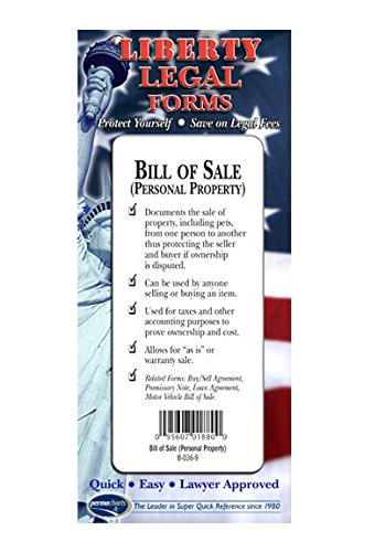 Bill of Sale Forms - Personal Property - USA - Do-it-Yourself Legal Forms by Permacharts