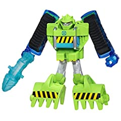Little heroes can enjoy twice the fun with 2 modes of play, converting this boulder the construction-bot action figure from a bulldozer to a robot and back again Kids can imagine rolling to the rescue with the boulder the construction-bot action figu...