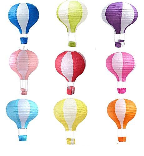 Matissa 9 stuks heteluchtballon papieren lantaarns bruiloft party decoratie knutselen lampenkap