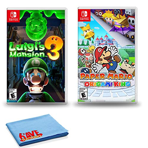 Nintendo Switch Luigi's Mansion 3 Bundle with Paper Mario Origami King and 6Ave Cleaning Cloth