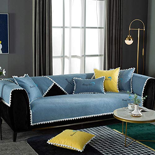 YUTJK Salón de sofá,Fundas de Asiento de sofá de Tela para Sala de Estar,Funda Protectora de Muebles,para sofá de 1/2/3/4 plazas,Cojín de sofá Bordado de Chenille Dolphin,Azul_90×160 cm