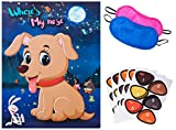 Reusable Pin The Nose on The Dog Party Game,Large 21 inches x 28 inchesPoster, 30 Nose stickers for Kids Dog Theme Birthday Baby Shower Party Supplies