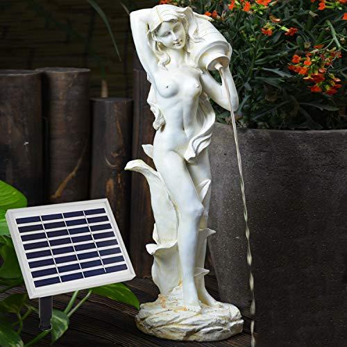 AMUR Garten Brunnen Solar Teichpumpe Solar Springbrunnen Gartenbrunnen Solar Wasserspiel Knabe mit Hund am Brunnen Set Solar Pumpe Teichpumpe f. Terrasse Teich Garten Gartenteich Solarteichdekoration