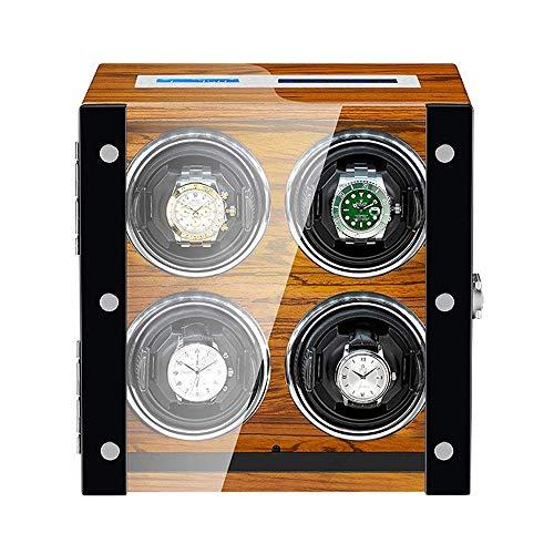 XIUWOUG Watch Winder 4 - Caja giratoria automática para relojes (cojín retráctil, mando a distancia, pantalla LCD, pantalla táctil, retroiluminación LED)
