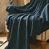 jinchan Throw Blanket Navy Blue Lightweight Cable Knit Sweater Style Year Round Gift Indoor Outdoor Travel Accent Throw for Sofa Comforter Couch Bed Recliner Living Room Bedroom Decor 60' x 80'