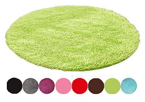 Emorias Runder Teppich, Shaggy-Stil, schöne Dekoration für Schlafzimmer und Wohnzimmer, weich, 1Stück 60 cm Grün L