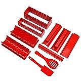 Kit De Fabricación De Sushi Cuadrados 10 Piezas De Molde De Sushi Kit Diy Diferentes Formas De Herramientas De Plástico Para El Arroz De Rollo Rojo De Sushi