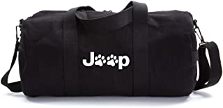 Jeep Wrangler Cat Dog Paw Prints Army Sport Heavyweight Canvas Duffel Bag in Black & White, Large