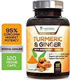 Turmeric Curcumin 95% Curcuminoids with BioPerine and Ginger 1950mg - Black Pepper for Best Absorption, Made in USA, Natural Immune Support, Turmeric Ginger Supplement Pills - 120 Capsules