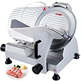 VBENLEM Commercial Meat Slicer 12 inch Electric Food Cutter Semi-Auto 250W Premium Stainless Steel Adjustable Thickness for Cheese Veggies Ham Fruit, Sliver