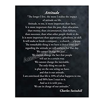 Attitude-More Important Than Facts  Inspirational Quotes Wall Art-11 x 14  Modern Christian Print-Ready to Frame Positive Quote by Charles Swindoll Home-Office-School Decor Great Advice for All!