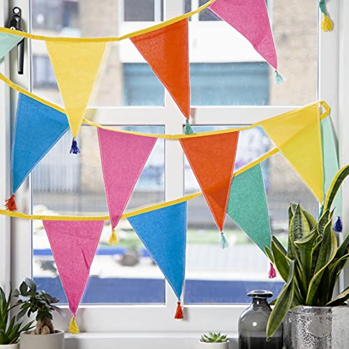 Fabric Rainbow Bunting with Tassels - 3m | Triangle Flag Pennant Garland, 100% Cotton, Home Décor for Kid's Bedroom, Nursery Accessories, Indoor Outdoor Birthday Party Decorations, Festival