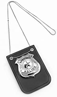 SYOSIN Police Badge Costume for Kids Pretend Play Police Badge Dress Up Accessories-Includes Chain and Black Belt Clip