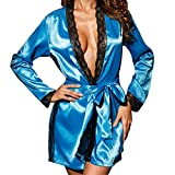 JUTOO Femmes Sexy Soie Kimono Vêtement Babydoll Dentelle Lingerie Robe De Bain Vêtements De Nuit(Bleu,M)