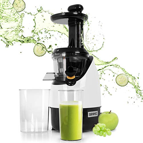Duronic Slow Juicer JE2 | Masticating Cold Press Juice Extractor | For Juicing Fruit and Vegetables | Homemade Freshly Squeezed Juice | Quiet Motor | Reverse Function | 200W | BPA-Free | 600ml Jug