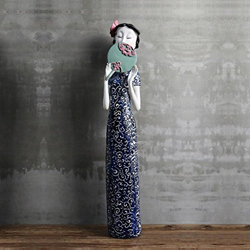Moderne Minimaliste Chinois Style Résine Sculpture Dames Ameublement Ameublement Ornements Salon Bureau Artwork Décoration Cadeau Rollsnownow (taille : 11.5 * 67.5cm)