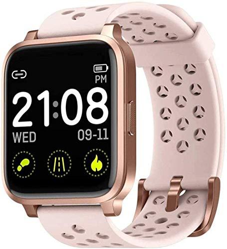 Smart Watch Fitness Tracker con oxígeno en la sangre y monitor de sueño IP68 impermeable reloj de fitness múltiples modos de deporte, color negro y rosa