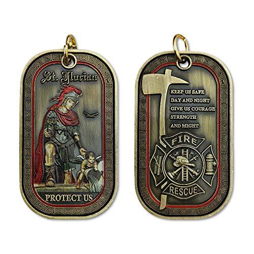 St. Florian Firefighter Challenge Coin Fireman Prayer Dog Tag Necklace