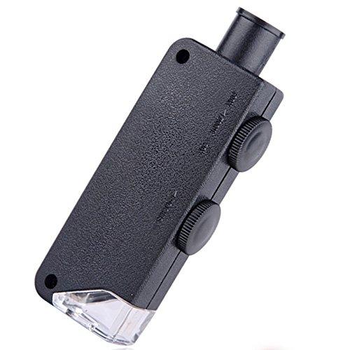 Espeedy Microscopio de bolsillo con luz LED,60-100 x iluminado Mini microscopio del...