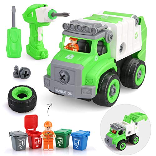 BeebeeRun Take Apart Toys with Electric Drill ,Remote Control Garbage Truck Toys for Boys Girls and Toddlers, Trash Truck Toys with Garbage Cans for Kids,Gift Toys for 3,4,5,6,7 Year Olds
