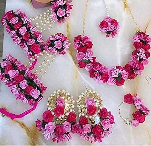 Riya Handicraft Women's Fabric Paper Silk Dori Rose Flower Jewelry Set Bridal Wedding