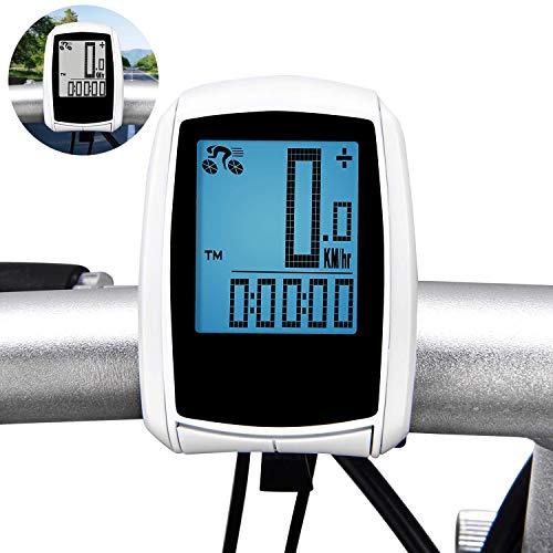 Cheap4uk - Computadora inalámbrica para bicicleta, velocímetro de bicicleta, con retroiluminación LCD grande y sensor de movimiento para rastrear la velocidad y distancia de conducción (blanco)