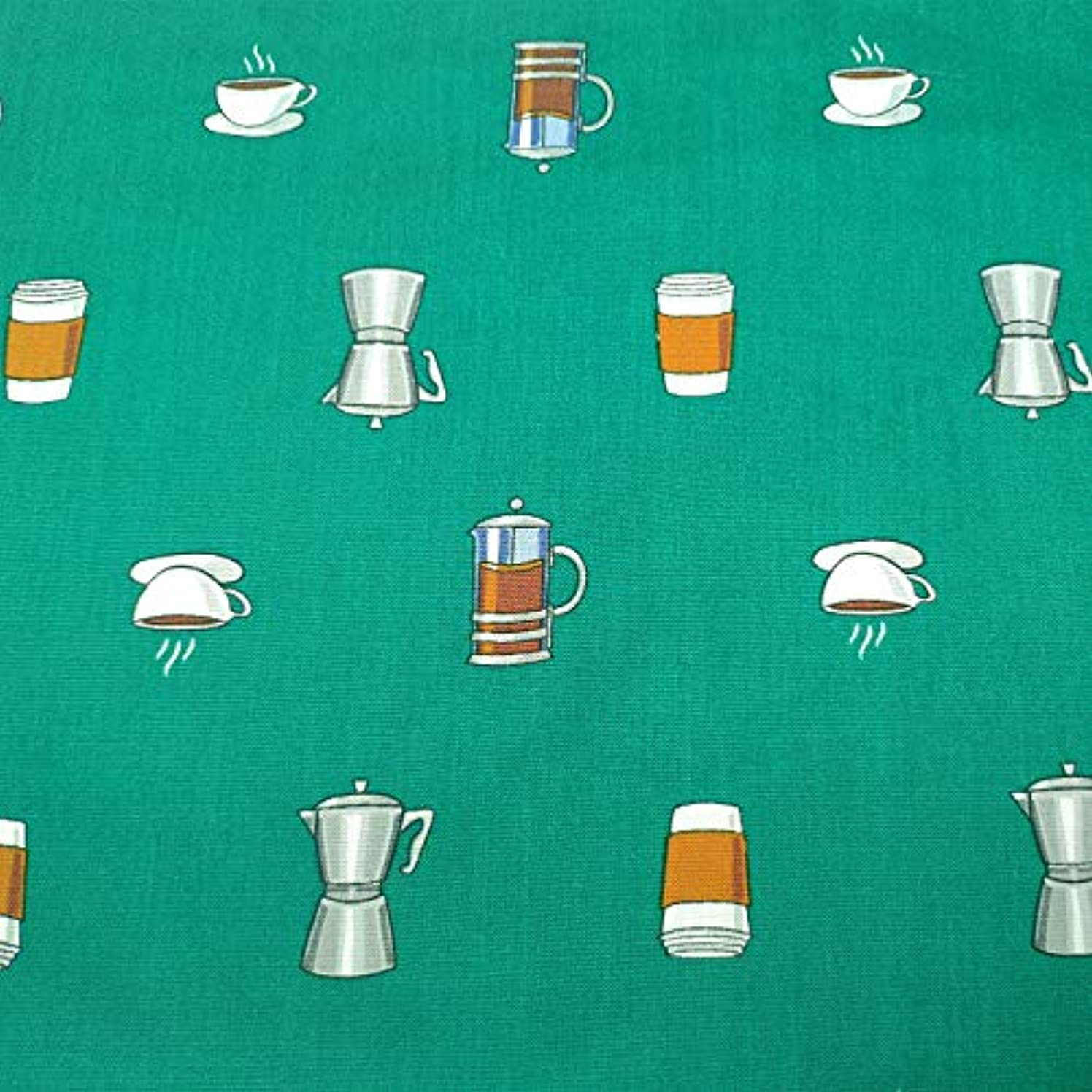 Moni's Choice Fabric by The Yard, Coffee Cup Cotton Print, Decorative Fabric for Upholstery and Home Accents, 1 Yard, Dark Green