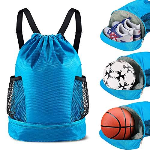 Turnbeutel Sportbeutel Gym Sack Drawstring Bag Sporttasche blau für Junge Damen Herren Basketball Fußball Schule