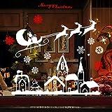 Naler 2 Rollos de Pegatinas Ventana Decorativa Navideñas Pegatinas Estáticas Copo de Nieve Trineo Alce Pueblo Casa Árbol de Navidad (Blanco y Rojo)
