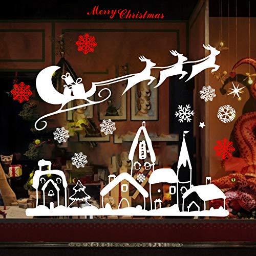 Naler Weihnachten Fensterbild Abnehmbare Fensterdeko Statisch Haftende PVC Aufkleber Winter Dekoration