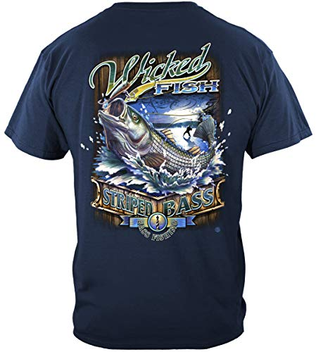 Striped Bass Fishing 100% Cotton Casual Men's Shirts, Show Your Love of Fishing with Our Unisex Wicked Fish Striped Bass T-Shirts for Men or Women (X-Large) Navy