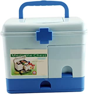 Household Medicine Box Plastic Large First Aid Box Multi-Layer Portable Medicine Storage Box Annacboy (Color : Blue)