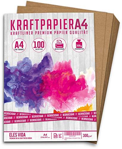 100 Blatt Kraftpapier A4-300 g - 21 x 29,7 cm - EXAKTES DIN Format - Bastelpapier & Naturkarton, Pappe und Blätter aus Kraftkarton zum Basteln für Kartonpapier Vintage Bedruckbar für kreativ DIY Set