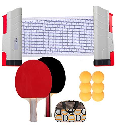 SIRUITON Set Racchette Ping Pong Professionale, 1 Rete Regolabile e Portatile Tavolo Ping Pong, 2 Racchette Ping Pong in Gomma a Doppia Faccia, 3 Palline Ping Pong con Borsa per Esterno e Interno
