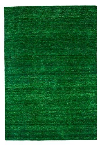 Morgenland Gabbeh Uni tapijt gemaakt van zacht handwerk Loribaft Oosterse modern Modern design 140x70x1.8 cm Donkergroen