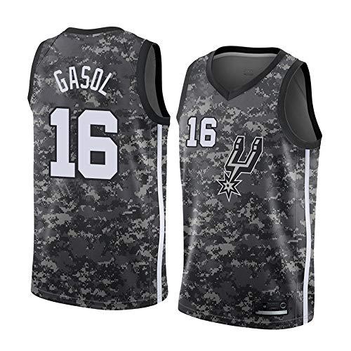 XH-CHEN Hombres Camiseta de la NBA Spurs 16# Gasol Jersey Retro Bordado, Mangas Transpirable Ropa del Entrenamiento del Chaleco Tapas de Aficionados para el Baloncesto,A,XL(185CM/85~95Kg)