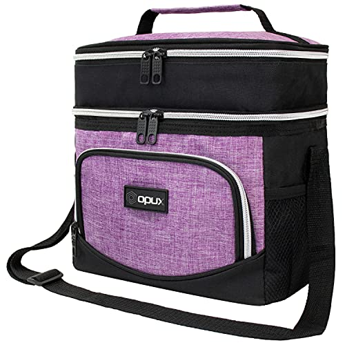 OPUX Insulated Dual Compartment Lunch Box Women Girl   Leakproof Double Deck Lunch Bag Work Office School   Soft Cooler Tote with Strap Men Adult Kid   Reusable Thermal Lunch Pail Kit 12 Cans, Purple