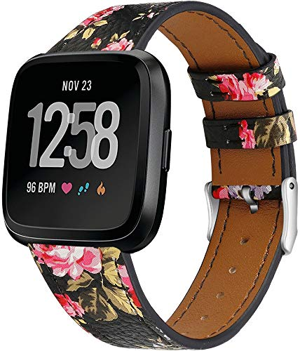 Genuinos Correas de Reloj Compatible con Fitbit Versa 2 / Versa 2 SE/Versa Lite/Versa smartwatch, Cuero de Liberación Rápida Correa de Reloj (Pattern 9)