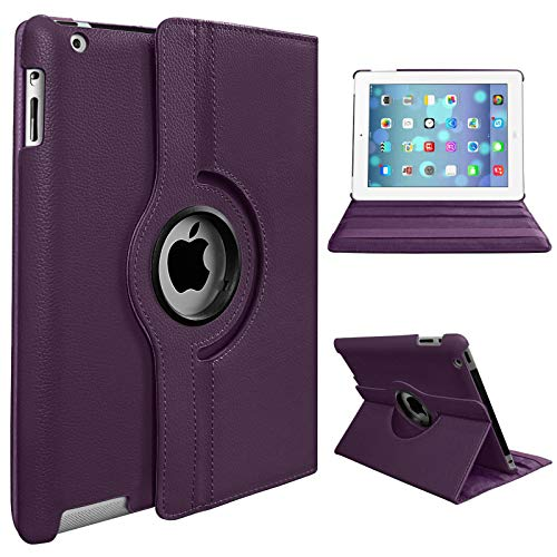 For Apple iPad Air (1st Generation) 2013 A1474 A1475 A1476 360 RotateStand Case with Automatic Wake/Sleep (Purple)